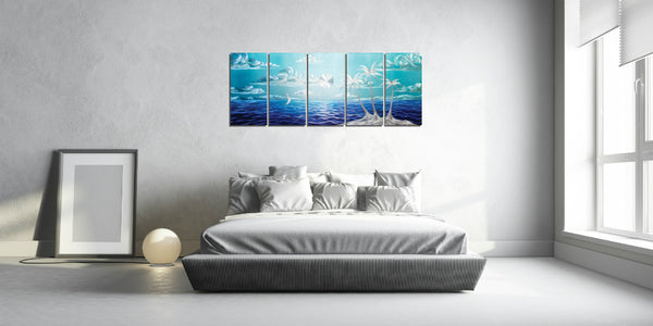 Blue Paradise' Brushed Aluminum Wall Decoration | Nautical Metal Wall Art