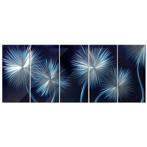 'Dandelions On Blue' Botanical Metal Wall Art | Brushed Aluminum