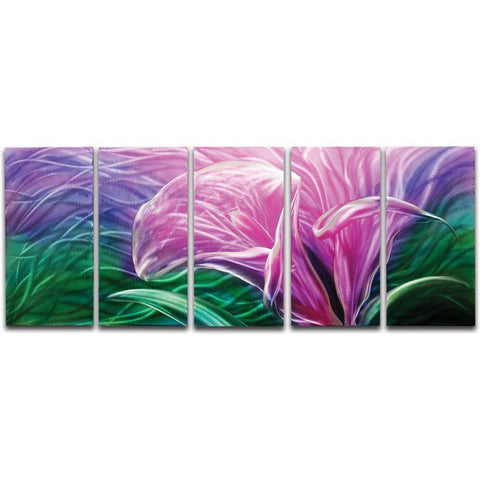 Electric Lily' Brushed Aluminum Wall Decoration | Abstract Floral Metal Wall Art