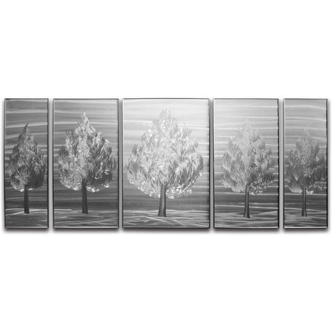 'Five Little Trees' Brushed Aluminum Wall Decoration | Tree of Life Metal Wall Art