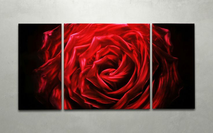 'Midnight Rose' 3 panel set Wall Decoration | Floral Metal Wall Art
