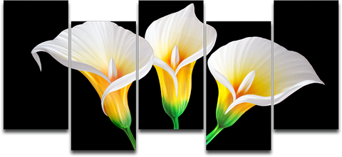 'Lilies in the Dark' 5 piece set. | Flower Metal Wall Art