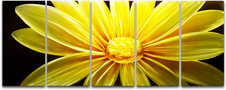 Sunflower at night' Brushed Aluminum Wall Decoration | Floral Metal Wall Art