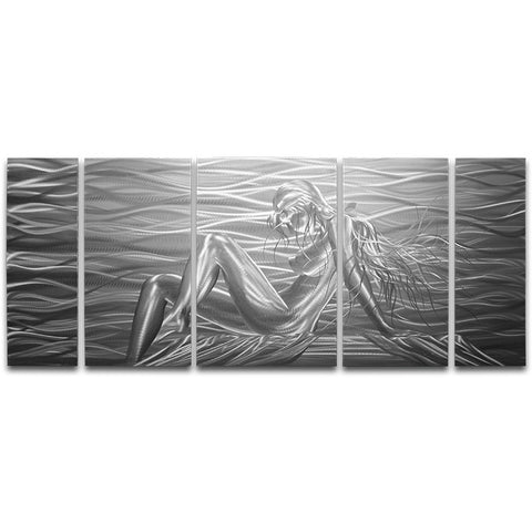 'Beauty by The Sea' Large Metal Wall Art | Brushed aluminum