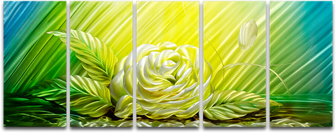 'Yellow Rose' Brushed Aluminum Wall Decoration | Floral Metal Wall Art
