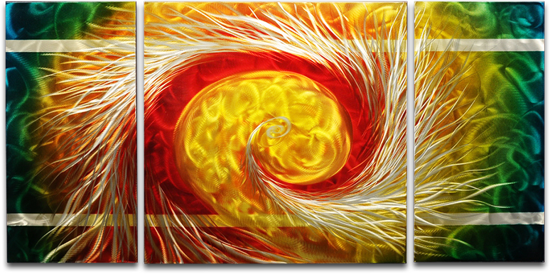 'The Phoenix' Brushed Aluminum Wall Decoration | Abstract Metal Wall Art