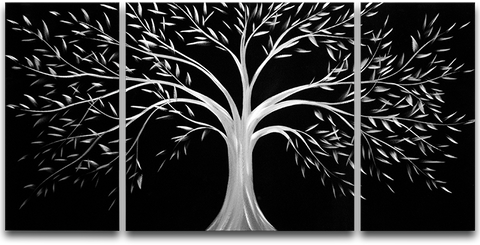 'Silver Tree – Brushed Aluminum Wall Decoration | Tree of Life Metal Wall Art