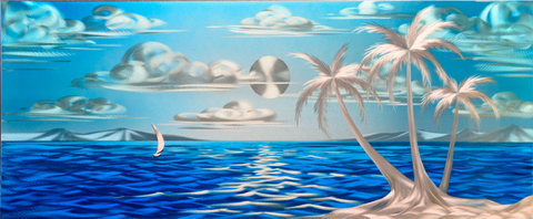 'Blue Paradise (small)' Wall Decoration | Painted Aluminum