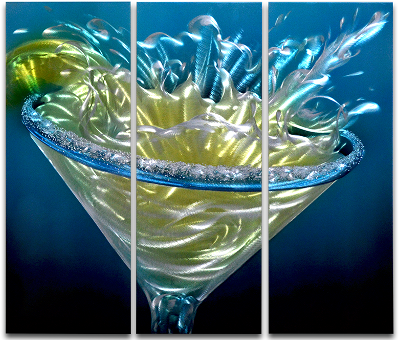 'Margarita Splash' 3 panel Metal art Set