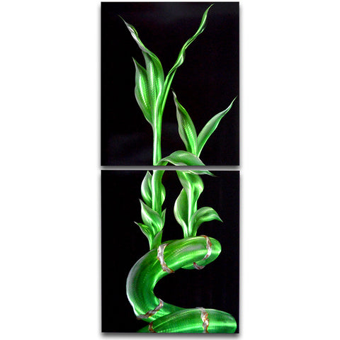 'Lucky Bamboo' Vertical Metal Wall Art | Brushed Aluminum