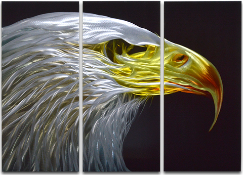 'Eagle Eye' 3 panel set | Brushed Aluminum