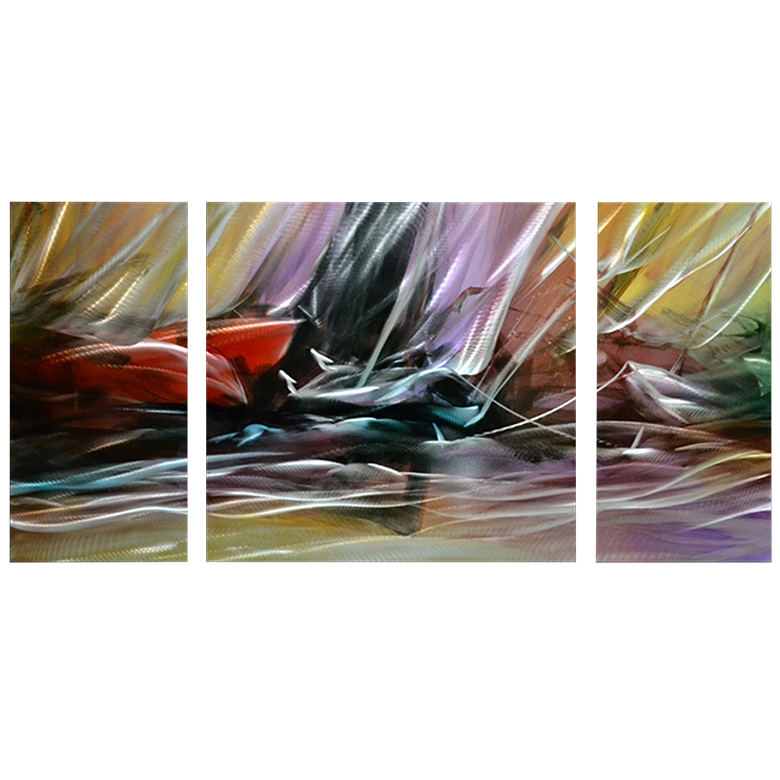 'Hazy Dreams' 3 panel Set | Abstract Metal Wall Art