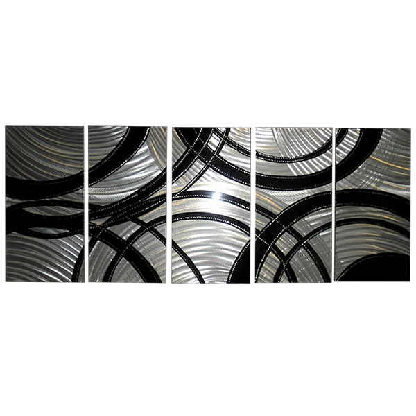 'Silver Gears' Brushed Aluminum Wall Decoration | Abstract Metal Wall Art