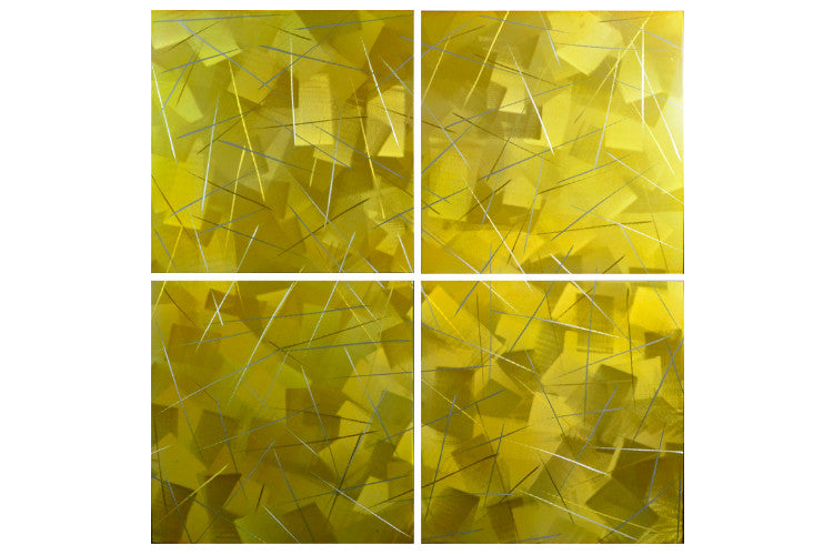 'Golden Square' 4 panel Metal art set