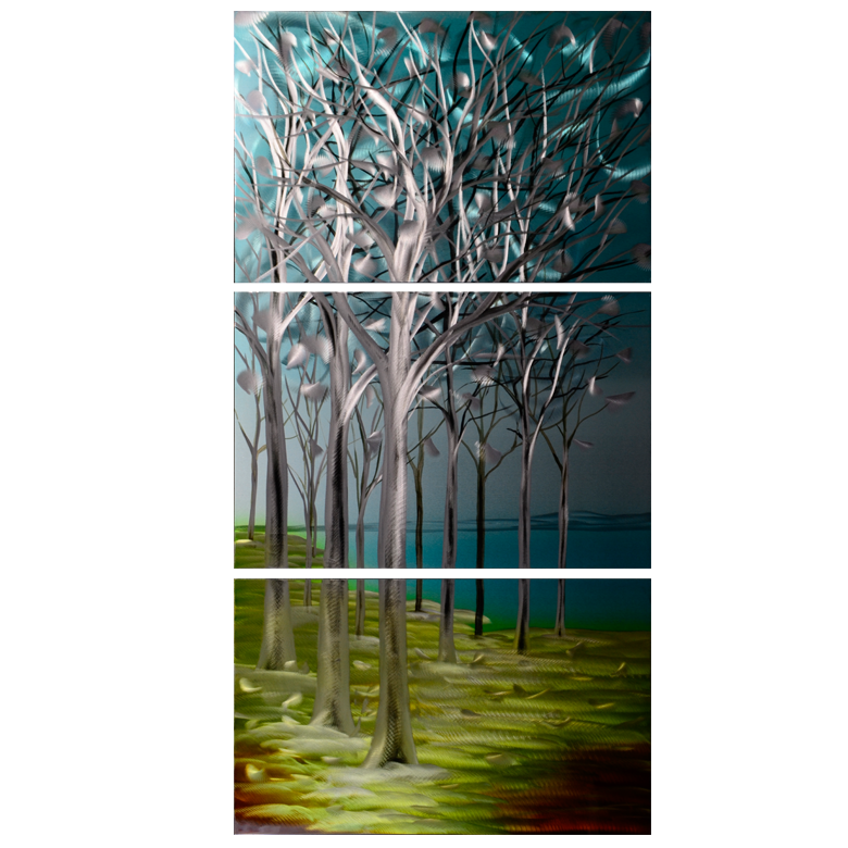 'Orchards'  3 piece set Vertical Metal Wall Art | Brushed Aluminum