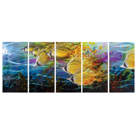 'Golden Jetstream' 5 panel set Nautical Metal Wall Art | Brushed Aluminum