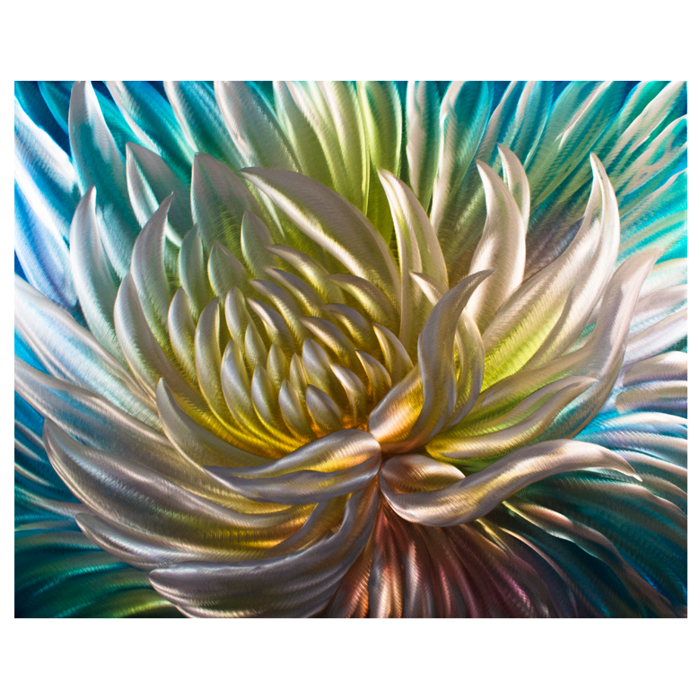 'Rainbow Anemone' Brushed Aluminum Wall Decoration | Flower Metal Wall Art