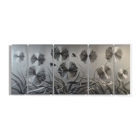 'Pushing Daisies Brushed Aluminum Wall Decoration | Botanical Metal Wall Art