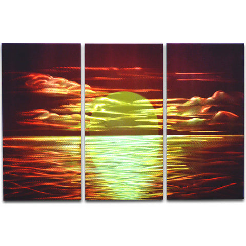 'Red Sunset' Brushed Aluminum Wall Decoration | Nautical Metal Wall Art