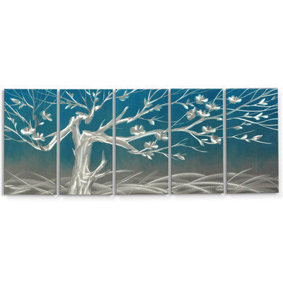 'Winter Morning' Brushed Aluminum Wall Decoration | Tree of Life Metal Wall Art