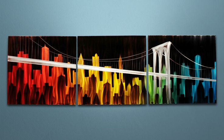 'Skyline' Brushed Aluminum Wall Decoration | Urban & City Metal Wall Art
