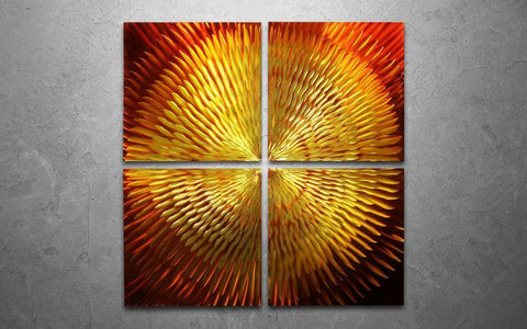 'Golden Sun' Large 4-panel Handmade Metal Wall Art