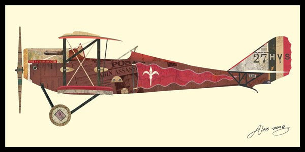 Antique Biplane #2' Art collage wall art decoration