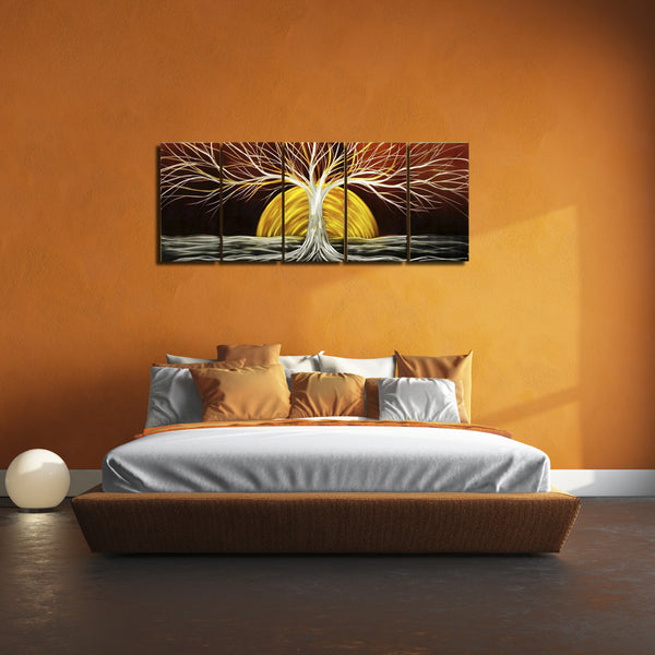 'Winter Sunset' Brushed Aluminum Wall Decoration | Tree of Life Metal Wall Art