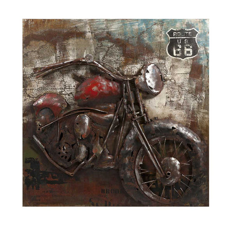 'Motorcycle Dimensional' Wall Decoration | Iron Wall Art