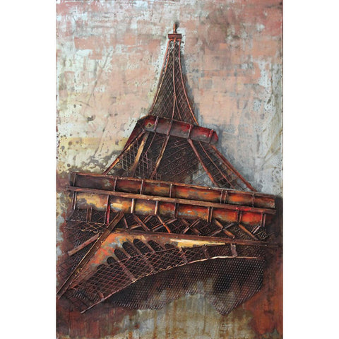 'Eiffel Tower 1' Wall Sculpture | Wrought Iron Metal Wall Art