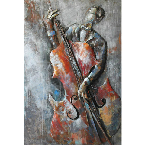 'The Bassist' Iron Wall Art | Musical Metal Wall Art