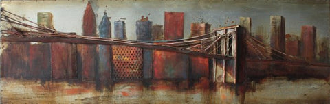 'Bridge to the city 1'  Urban & City | Wrought Iron Metal Wall Art