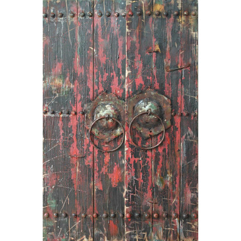 'Antique Wooden Doors 1' Hand Painted Iron Wall Sculpture