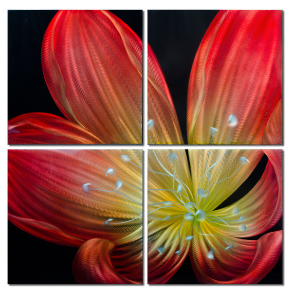 Blossoming Ember Lily' Brushed Aluminum Wall Decoration | Floral Metal Wall Art