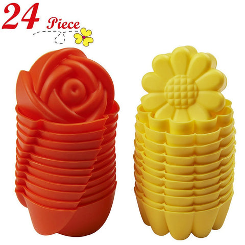 Chefaith™ Silicone Baking Cups, Cupcake Liners, Set of 24 pcs (12 Rose & 12 Sunflower Shaped)