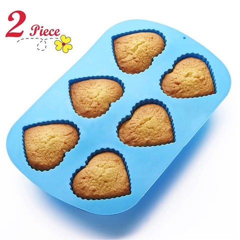 Chefaith™ Silicone Heart-Shaped Cupcake Muffin Baking Pan, Set of 2