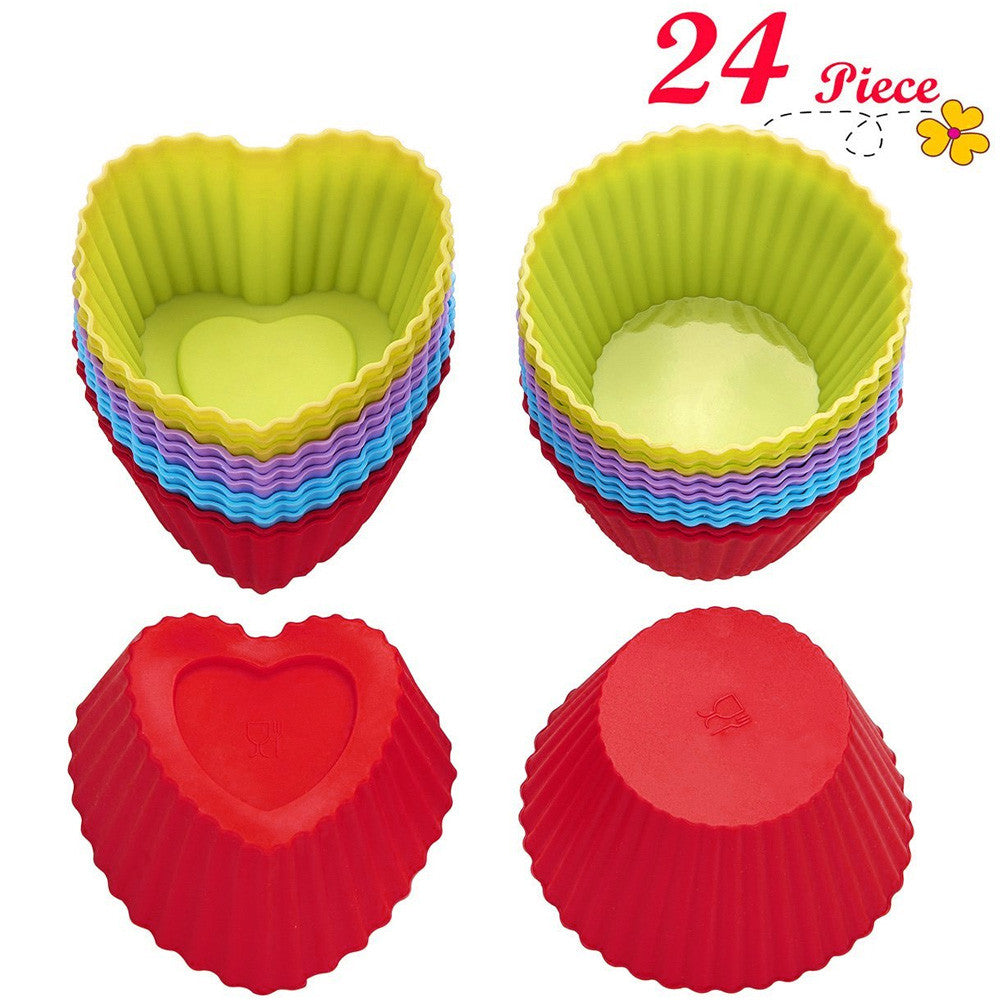 Chefaith™ Silicone Baking Cups, Cupcake Liners, Set of 24 pcs (12 Heart-Shaped & 12 Round)