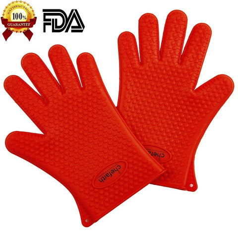 Chefaith™ Silicone Heat Resistant Oven Mitts / Pot Holders for Cooking, Baking, Barbeque(BBQ), Smoking