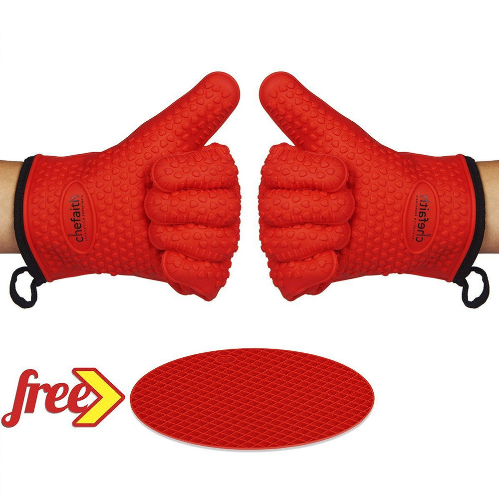 Chefaith™ Silicone Heat Resistant Oven Mitts / Gloves with Fabric Lining and Bonus Pot Holder