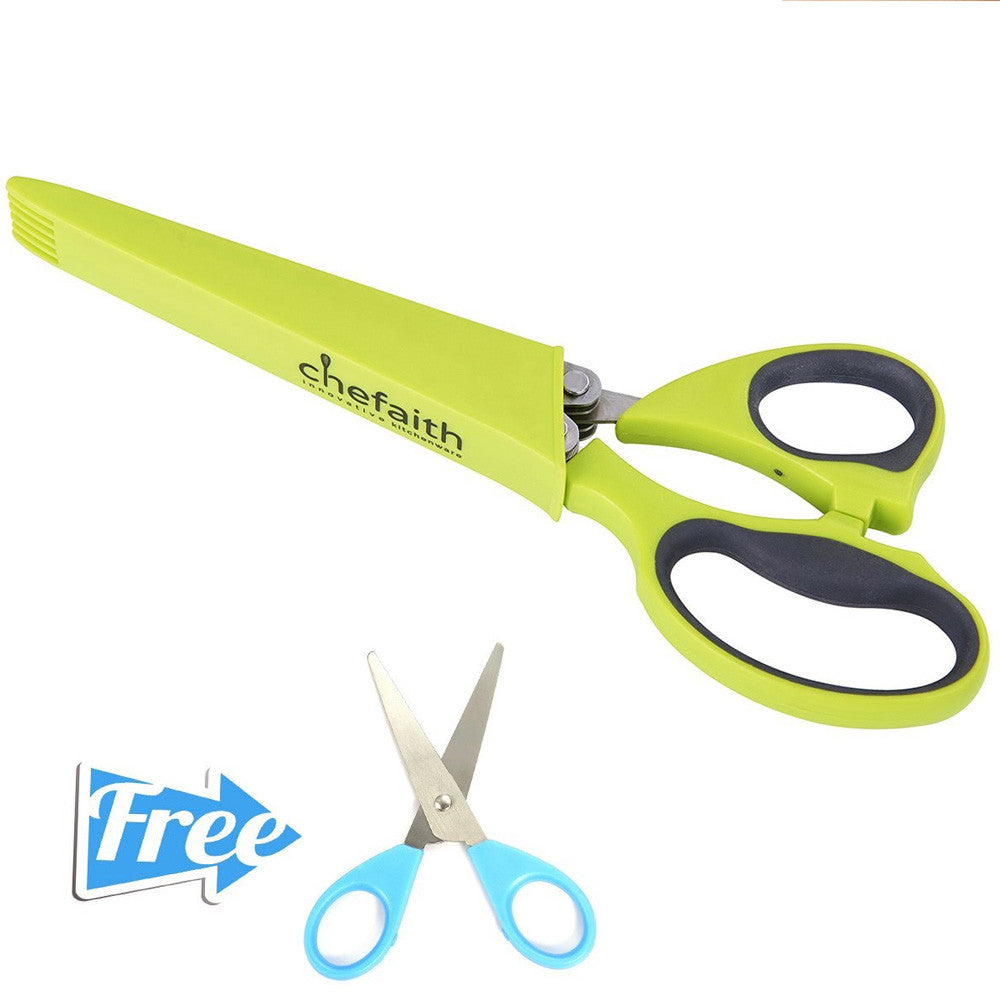 Chefaith™ Kitchen Herb Scissors / Shears With 5 Stainless Steel Blades