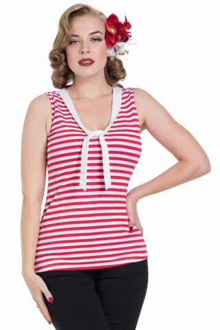 Haili Red Nautical Stripe Top by Voodoo Vixen