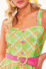 Green Rainbow Plaid Dress by Voodoo Vixen