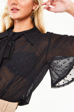 Black Sheer Bell Sleeve Top by Voodoo Vixen