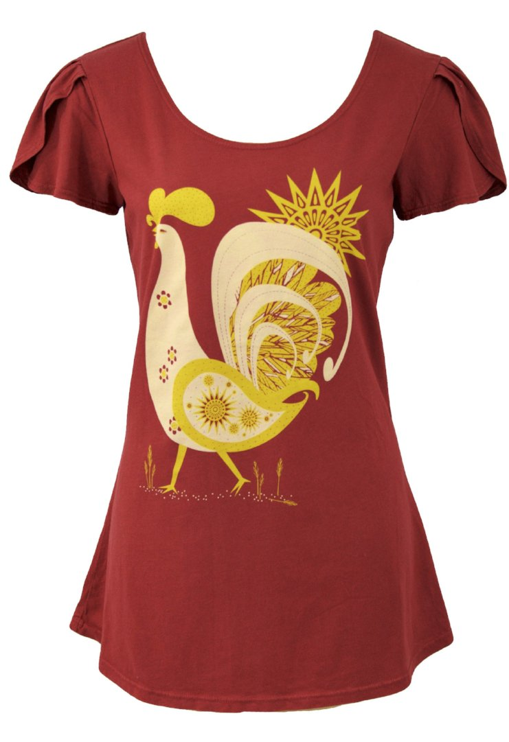 Rooster Tulip Sleeve T-Shirt Top in Rust by Blue Platypus
