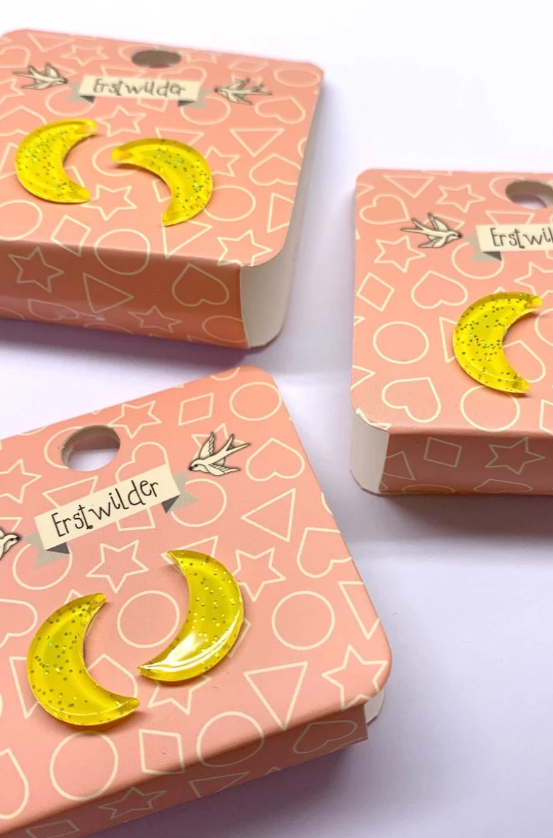 Yellow Glitter Crescent Earrings by Erstwilder