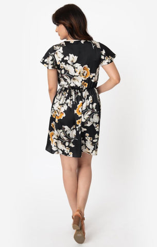 Ruffle Collar Dress in Black Floral by Smak Parlour