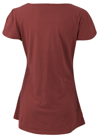 Rooster Tulip Sleeve Tee in Rust by Blue Platypus