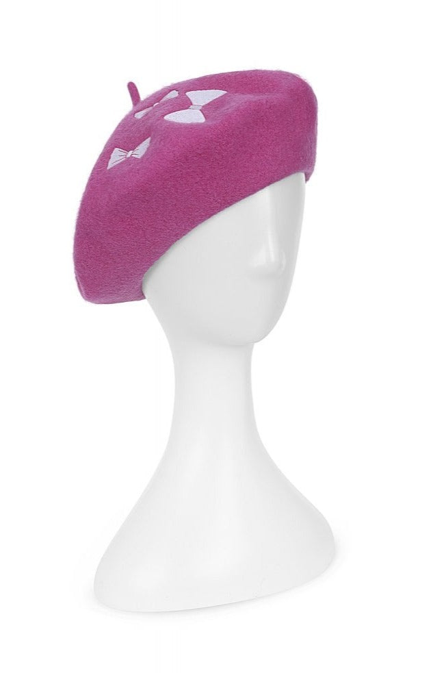 Melissa Bow Beret in Berry by Collectif