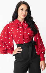 Red & White Heart Print Tie-Neck Gwen Blouse