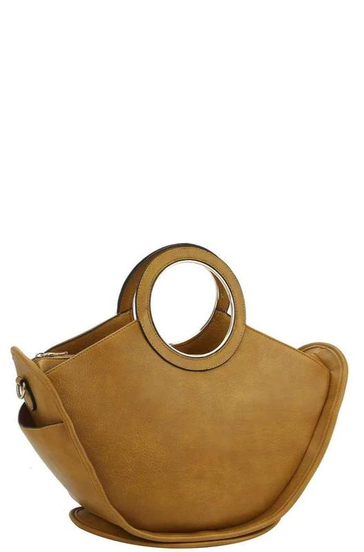 Mustard Circle Handle Satchel Bag
